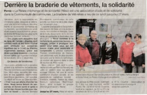 Article de OF sur la braderie à VETI en mars 2019